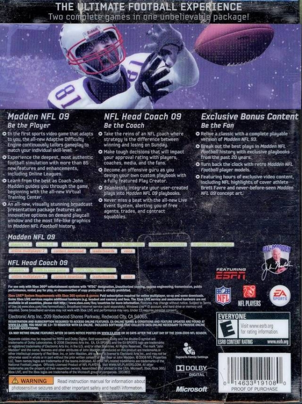 Madden NFL 09 for Xbox 360 - Sales, Wiki, Release Dates, Review