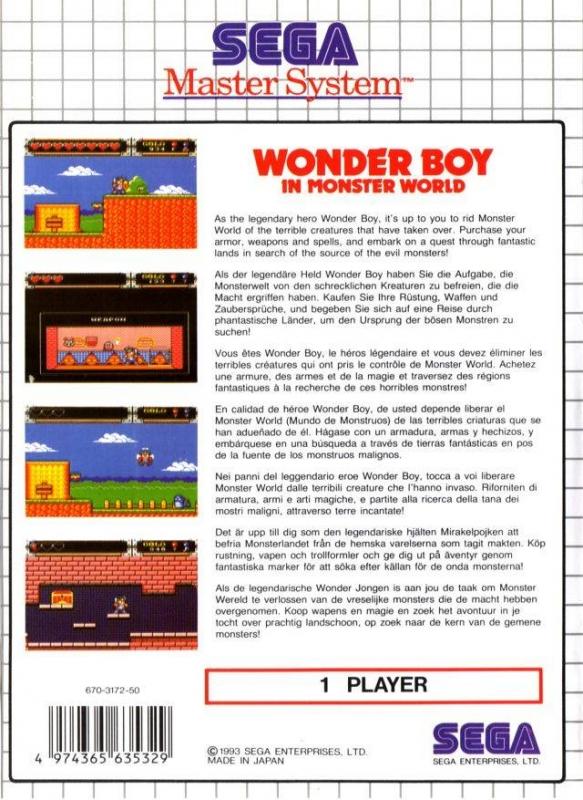 Wonder Boy in Monster World for Sega Master System - Sales