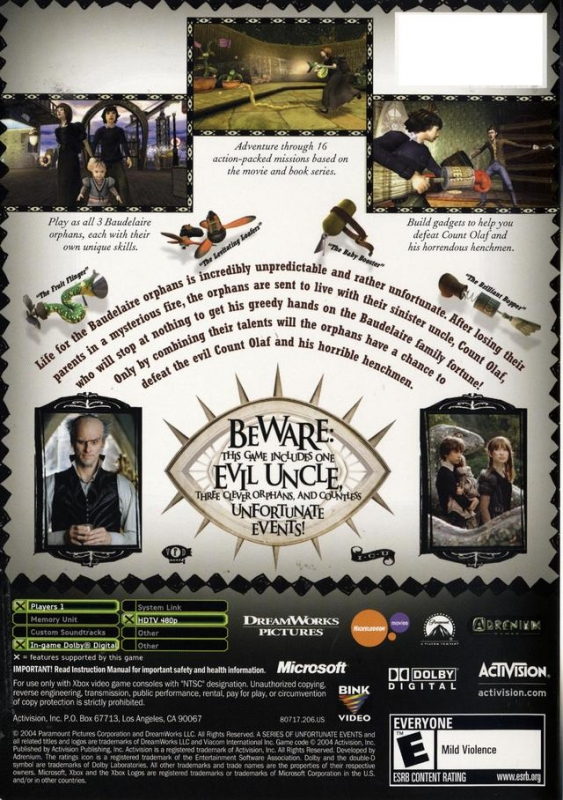 Lemony Snickets: A Series of Unfortunate Events for Xbox - Sales