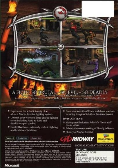 Mortal Kombat: Deadly Alliance for Xbox - Sales, Wiki, Release Dates