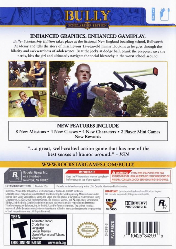 Bully: Scholarship Edition for Wii - Sales, Wiki, Release