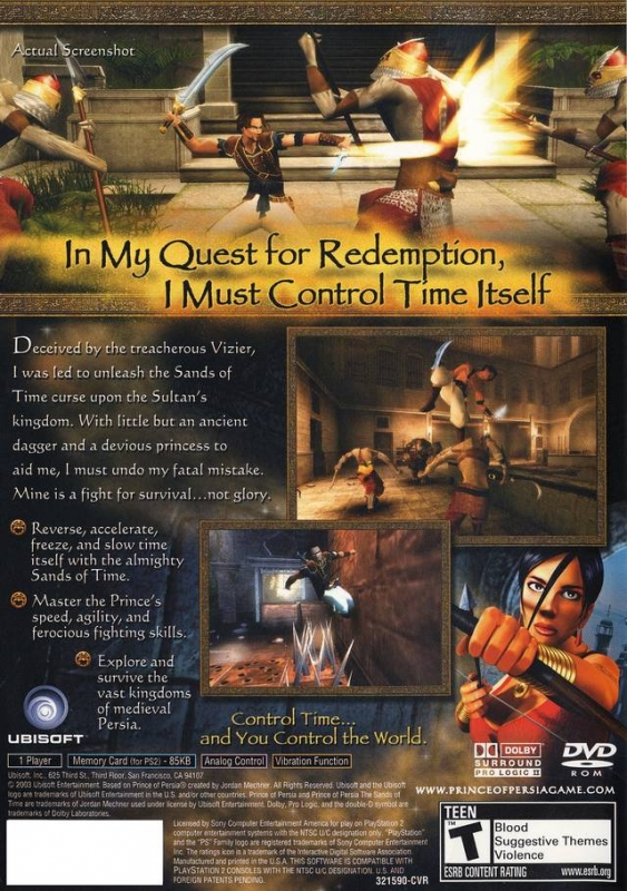 Prince of Persia: Sands of Time for PlayStation 2 - Sales, Wiki