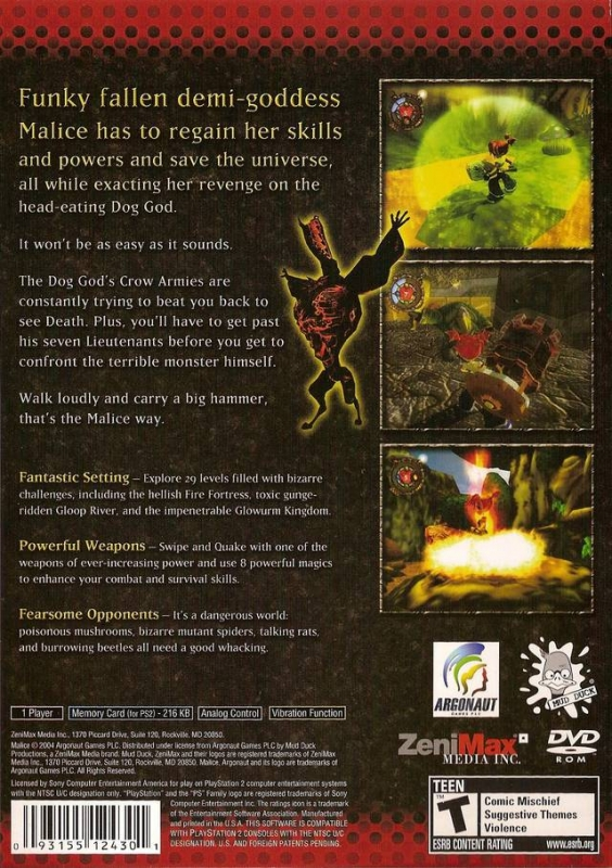 Malice for PlayStation 2 - Cheats, Codes, Guide, Walkthrough