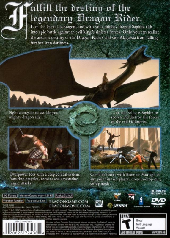 Eragon for PlayStation 2 - Sales, Wiki, Release Dates