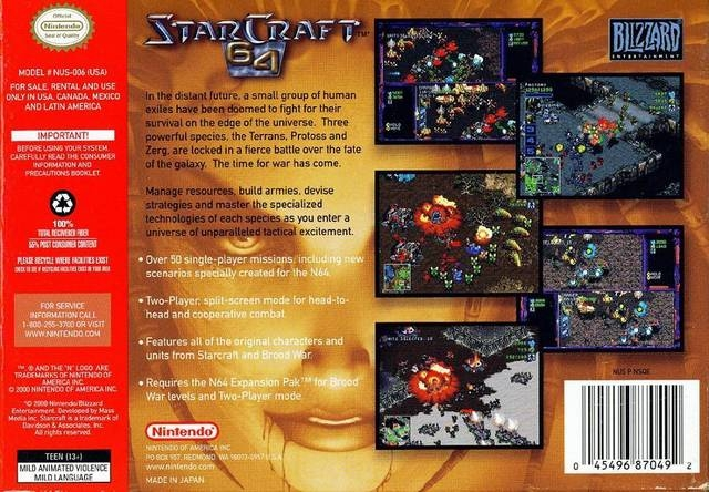 Starcraft 64 for Nintendo 64 - Sales, Wiki, Release Dates