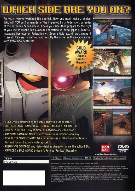 Mobile Suit Gundam: Federation vs Zion DX for PlayStation 2