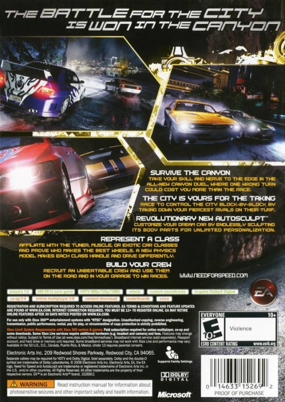 Need for Speed: Carbon for Xbox 360 - Sales, Wiki, Release