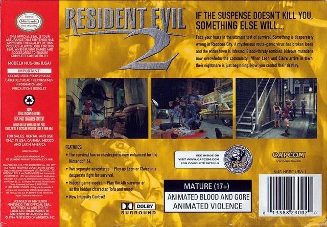 Resident Evil 2 for Nintendo 64 - Sales, Wiki, Release Dates, Review