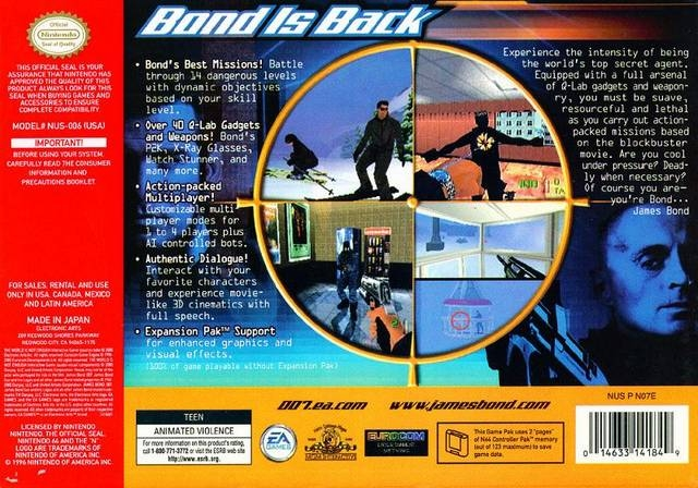 Bond 007 The World Is Not Enough For Nintendo 64 Cheats Codes