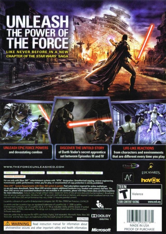 Star Wars: The Force Unleashed for Xbox 360 - Cheats, Codes