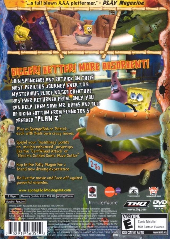 the spongebob movie playstation 2 overview