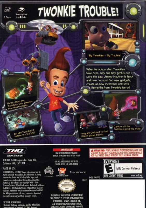 Jimmy Neutron Attack Of The Twonkies For Gamecube Sales