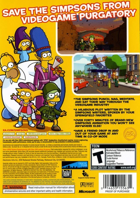 The Simpsons Game For Xbox 360 Sales Wiki Release Dates Review Cheats Walkthrough