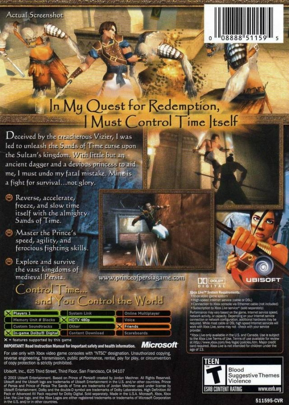 Prince Of Persia The Sands Of Time For Xbox Sales Wiki