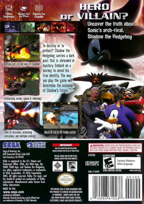 Shadow The Hedgehog for GameCube - Sales, Wiki, Release Dates