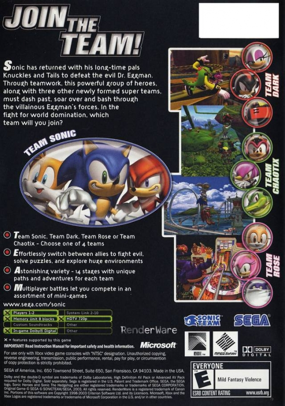 Sonic heroes xbox retail box art page.