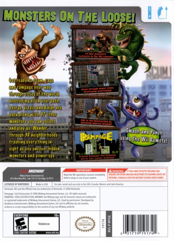 Rampage Total Destruction For Wii Sales Wiki Release Dates