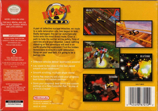 Blast Corps for Nintendo 64 - Summary, Story, Characters, Maps