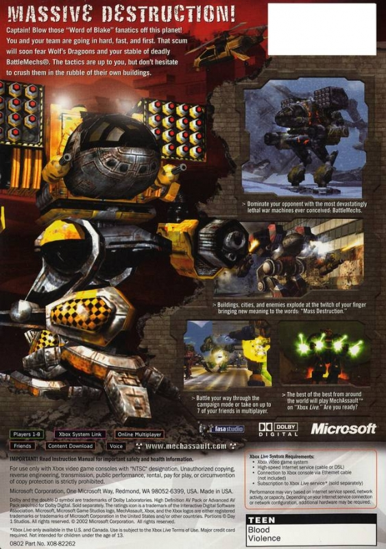 MechAssault for Xbox - Sales, Wiki, Release Dates, Review