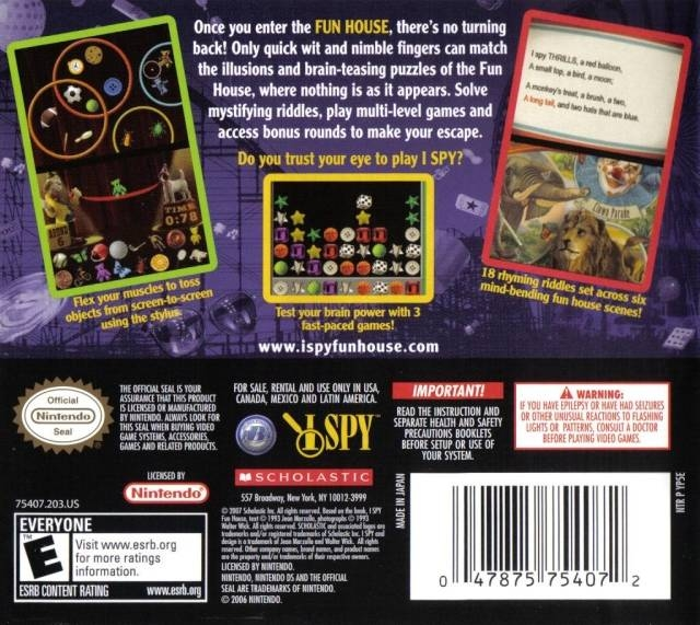 I Spy Funhouse for Nintendo DS - Sales, Wiki, Release Dates, Review