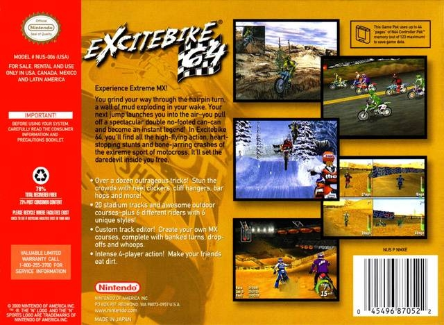 Excitebike 64 for Nintendo 64 - Sales, Wiki, Release Dates