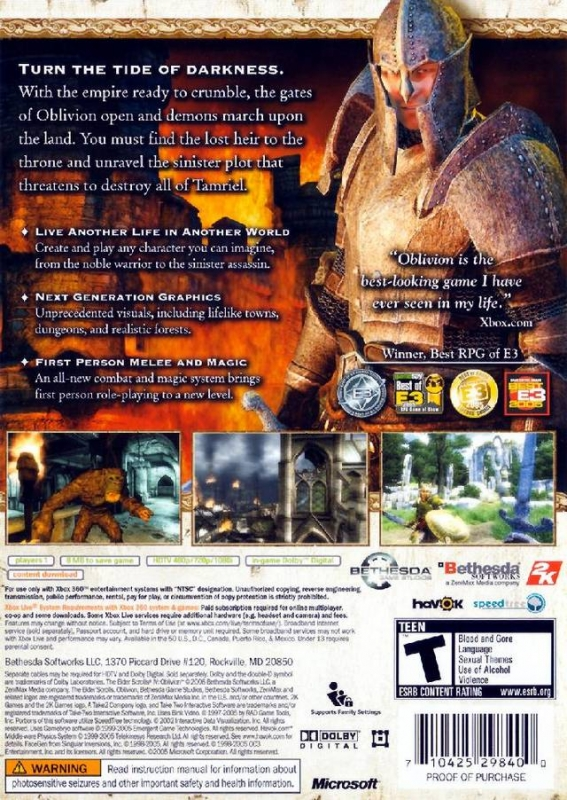 Elder Scrolls IV: Oblivion for Xbox 360 - Cheats, Codes, Guide