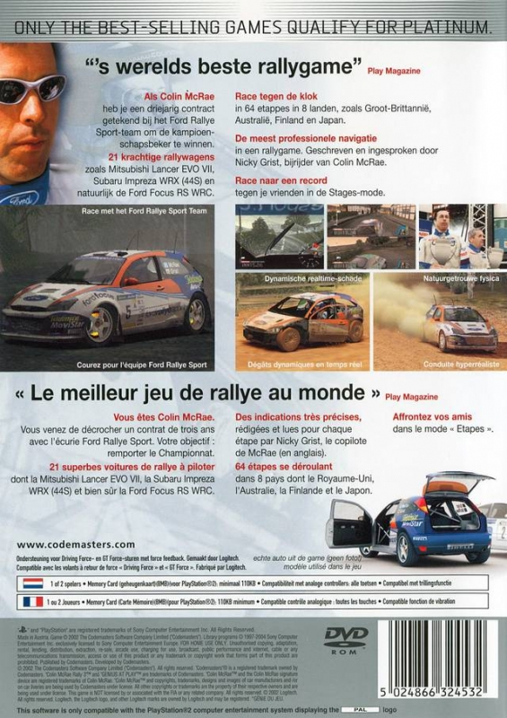 colin mcrae rally 3 for playstation 2 sales wiki release dates review cheats walkthrough. Black Bedroom Furniture Sets. Home Design Ideas