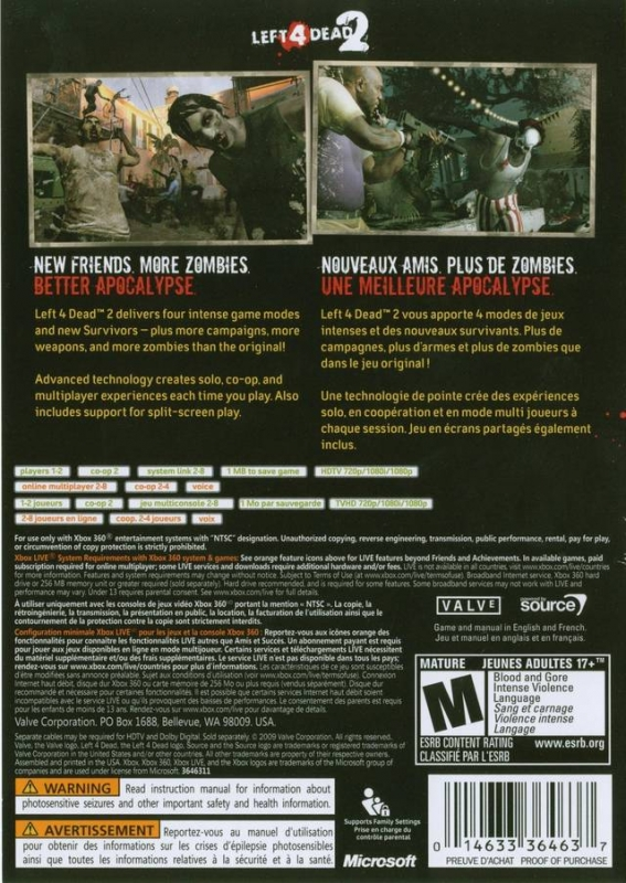 Left 4 Dead 2 for Xbox 360 - Sales, Wiki, Release Dates