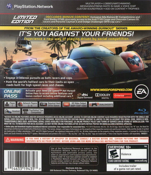 need for speed hot pursuit for playstation 3 sales. Black Bedroom Furniture Sets. Home Design Ideas