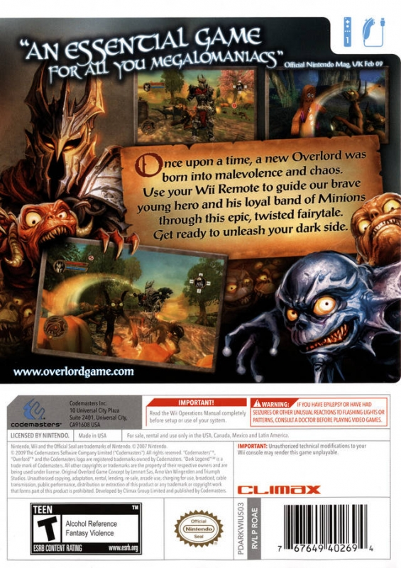 Overlord Dark Legend For Wii Sales Wiki Release Dates