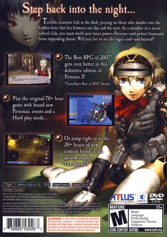 shin megami tensei persona 3 fes playstation 2 overview