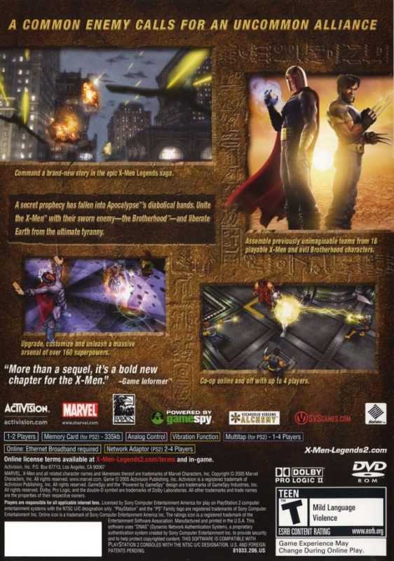 X Men Legends II Rise Of Apocalypse For PlayStation 2